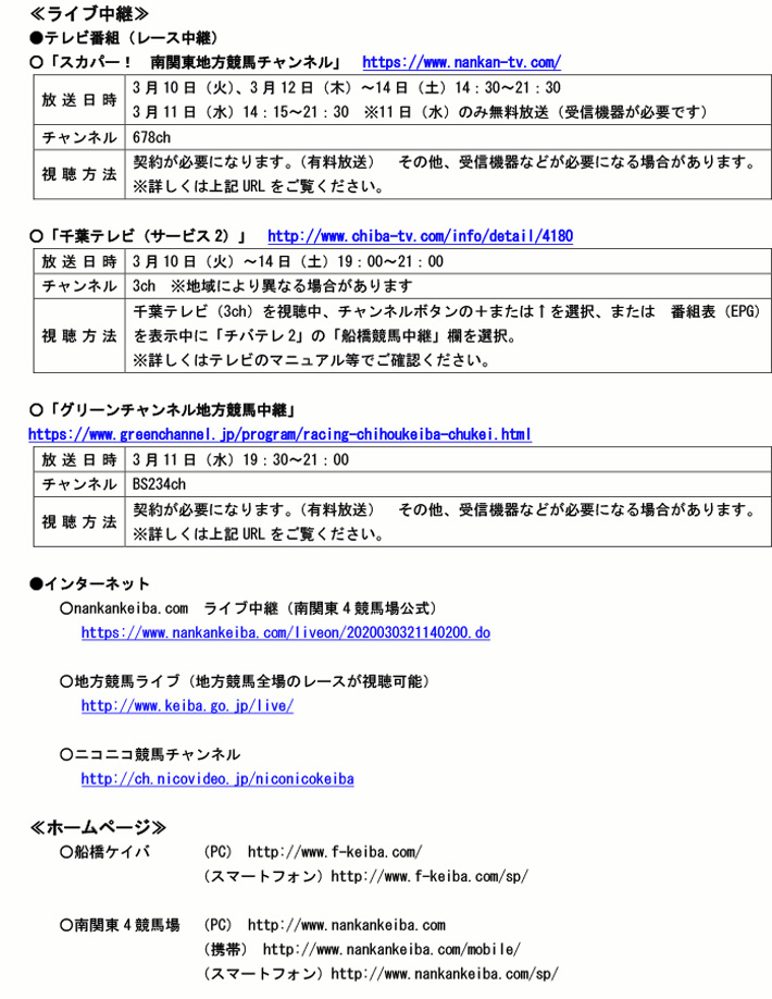南関 競馬 ライブ